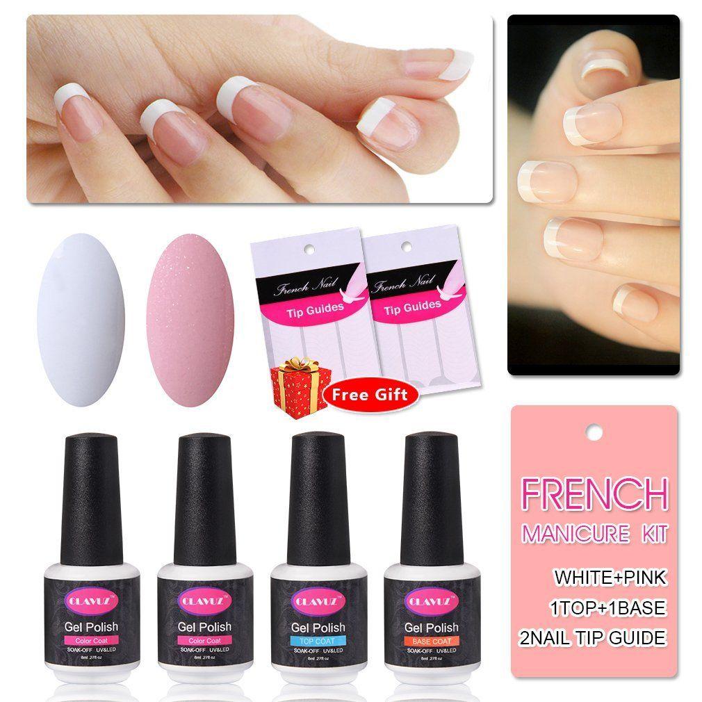 French manicure kit nail gel polish top coat and base coat
