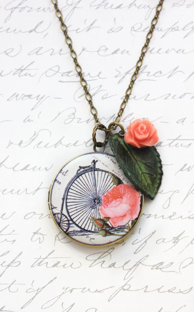 Bicycle Locket Necklace Coral Rose Charm http://ift.tt/1BxGISt