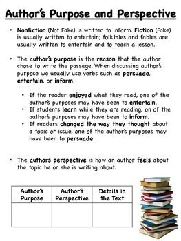 Author S Purpose And Perspective Authors Purpose Authors Perspective Middle School Reading