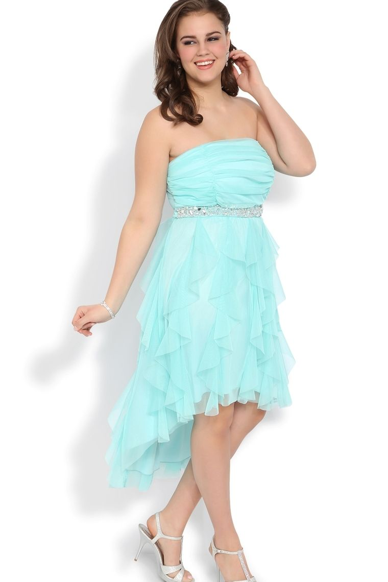 Plus Size High Low Prom Dress With Stone Waist And Tendril