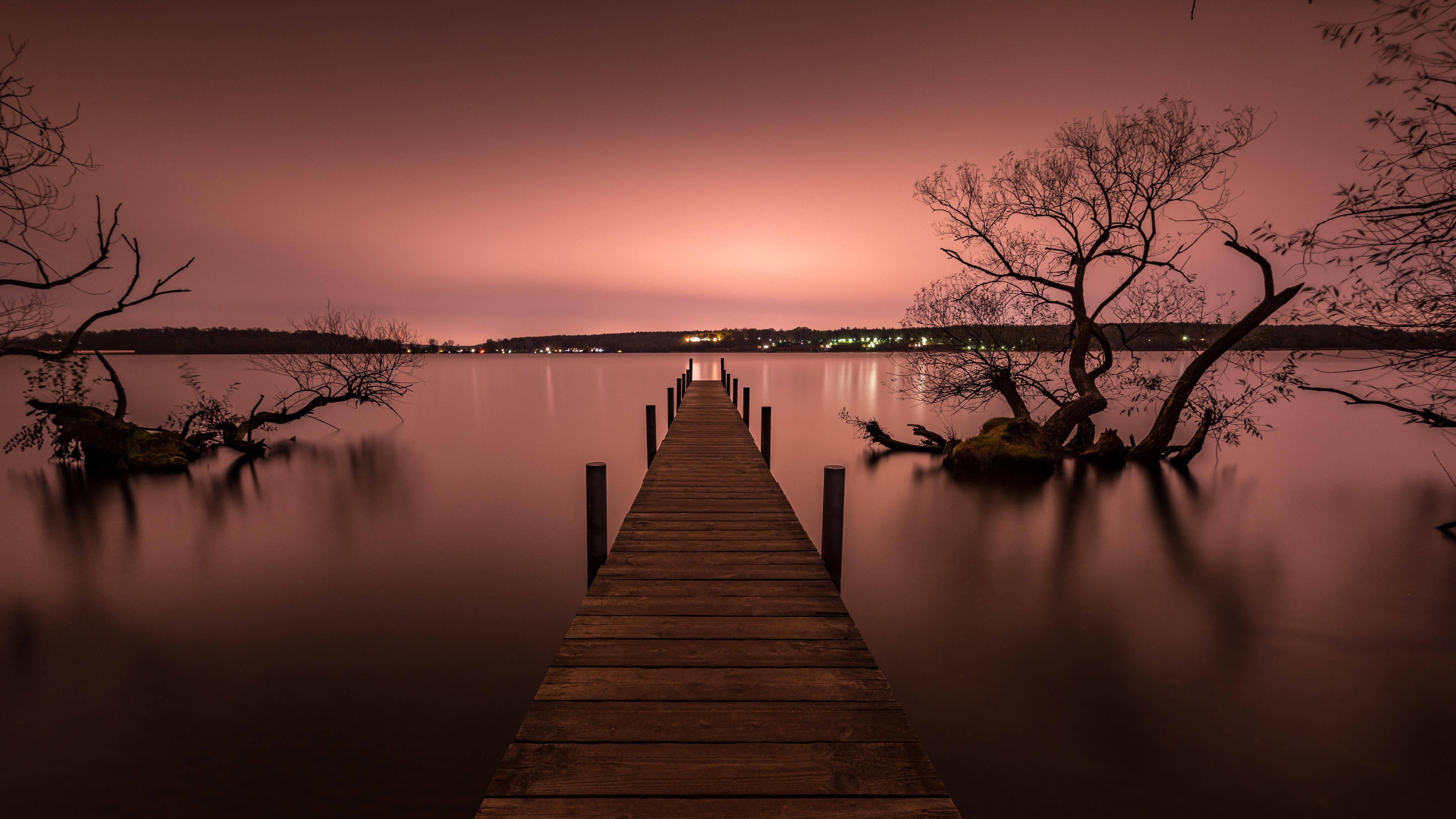 Pier Silent Calm Lake Reflection Water Pink Sky Sunset Evening Dusk Tree 5k Wallpaper Hdwallpaper Desktop Pink Sky Sunset Wallpaper Hd Wallpaper