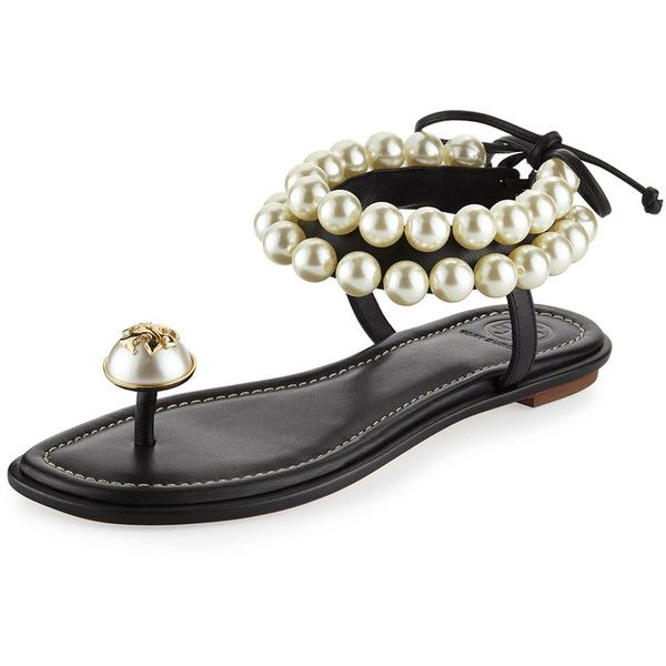 3629b5cece2e99 Tory Burch Melody Pearly Ankle-Wrap Flat Sandal ( 325) ❤ liked on Polyvore  featuring shoes