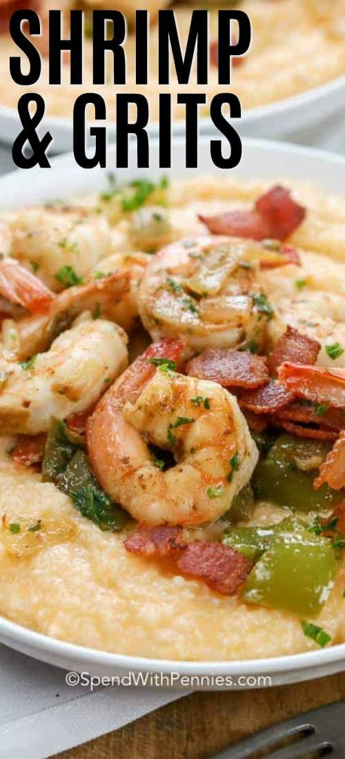 These cheesy shrimp and grits are a comfort food classic, and couldn't be easier! I am in love with