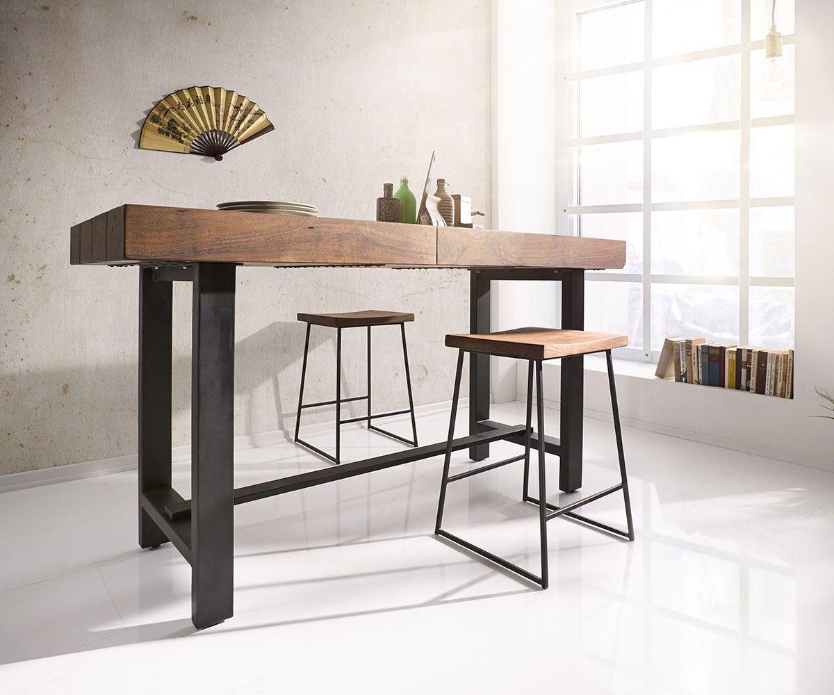 bartisch blokk 165x60cm akazie braun mit metallgestell. Black Bedroom Furniture Sets. Home Design Ideas