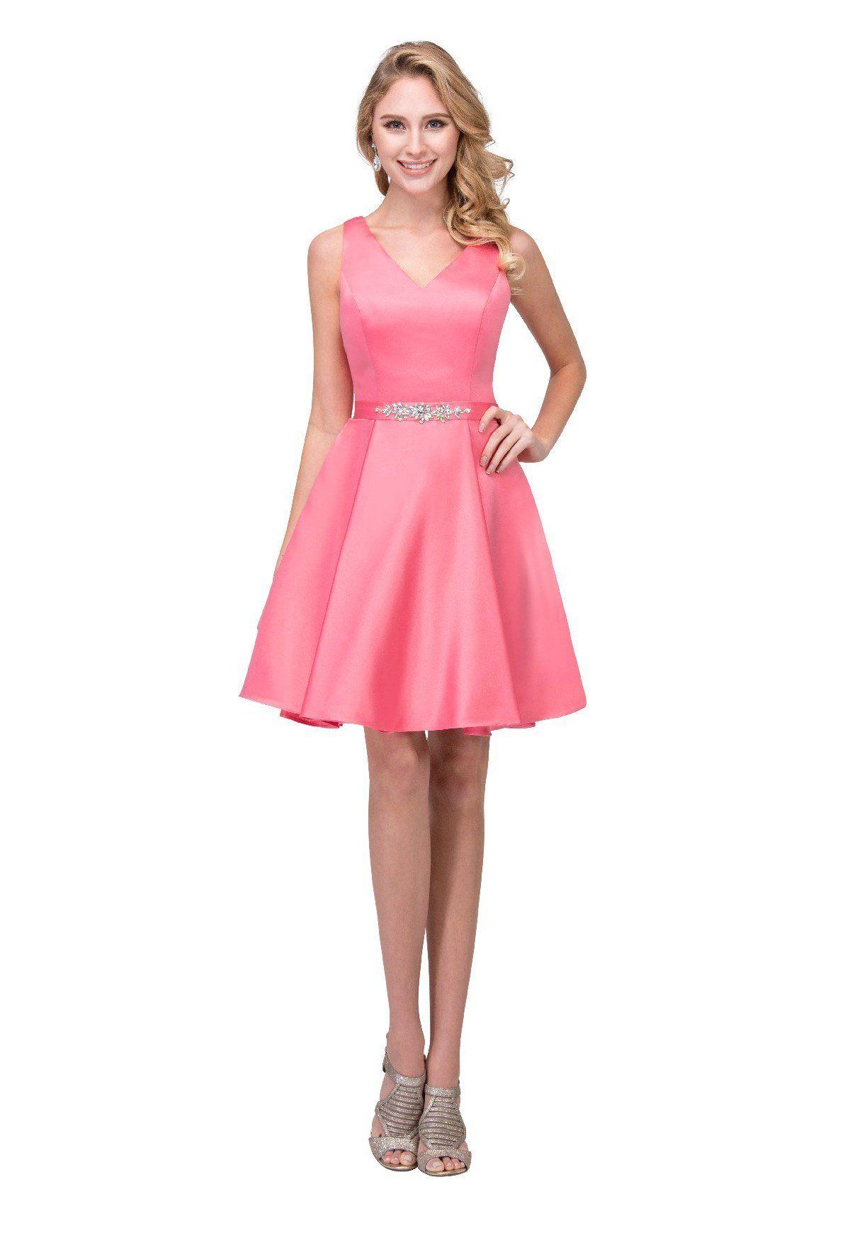 V-Neck Short Glitter-Knit Homecoming Party Dress