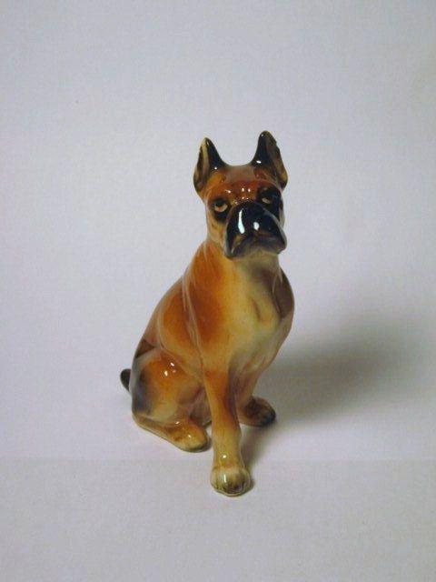 Vintage Porcelain Boxer dog Figurine Japan by