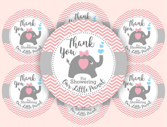 image regarding Free Printable Baby Shower Thank You Tags named Elephant Child Shower Choose Thank Your self Tags for Females. Chevron