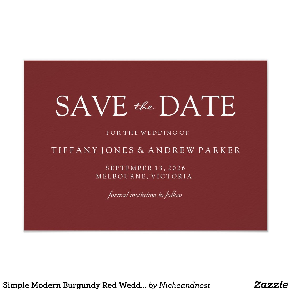 Simple Modern Burgundy Red Wedding Save the date | Wedding ...