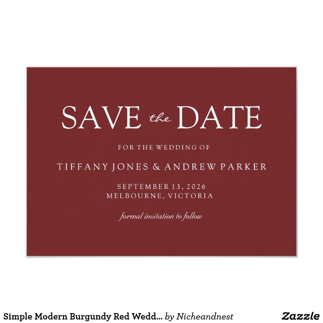 Simple Modern Burgundy Red Wedding Save the date | Wedding ...
