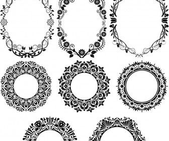 The one with the flowers and leaves maybe a touch of color with set of 14 vector round decorative floral frames decorated with ornamental flowers and patterns for embellishments decorative designs cards invitations stopboris Image collections