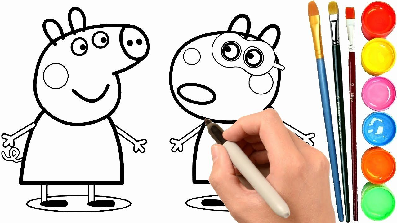 Coloring Cartoons Peppa Pig New How To Draw Peppa Pig And Suzy Sheep Coloring Pages Learn Colors In 2020 Peppa Pig Coloring Pages Cartoon Coloring Pages Coloring Pages