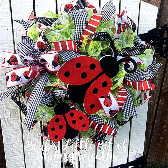 Photo of Items similar to Ladybug Wreath, Ladybug Wreaths, Front Door Wreath, Spring Wreath, Summer Wreath, Garden Wreath, Classroom Wreath, Buffalo Plaid on Etsy