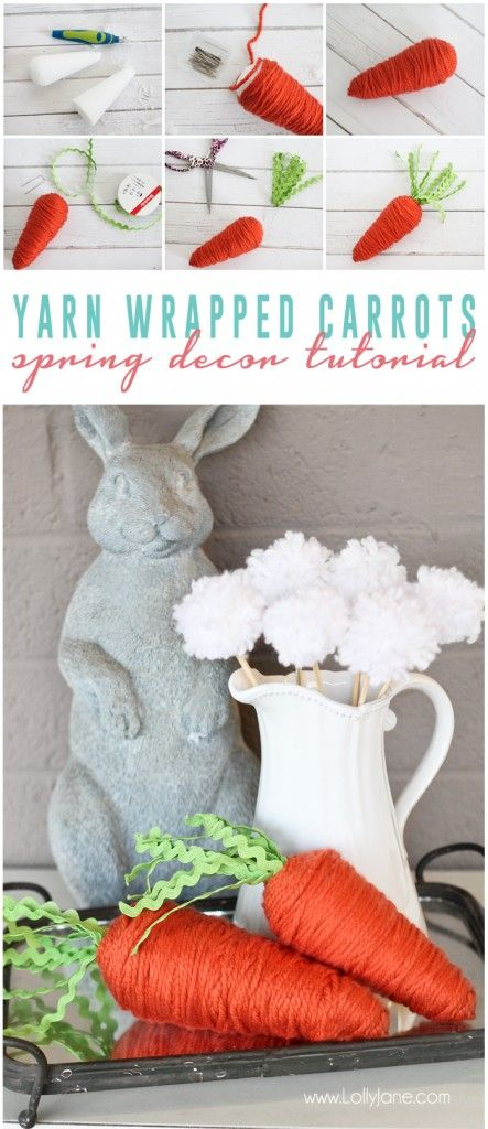 Yarn wrapped carrots -   23 easter diy decorations