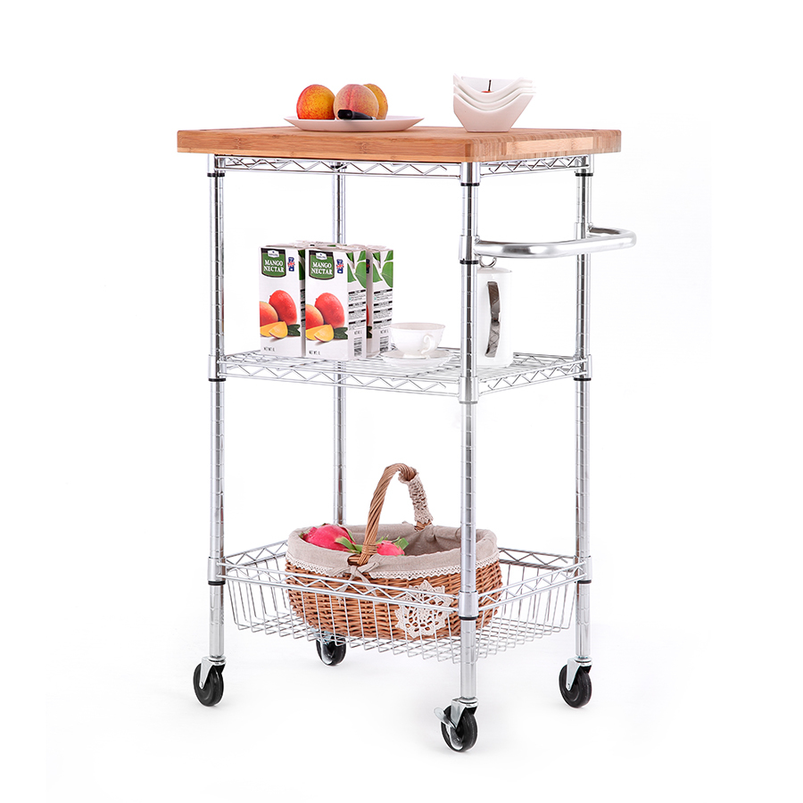 Style Selections 3 Tier Chrome Utility Kitchen Cart At Lowes Com