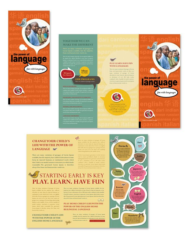 Child Language Learning Center Tri Fold Brochure Template Http - Fun brochure templates