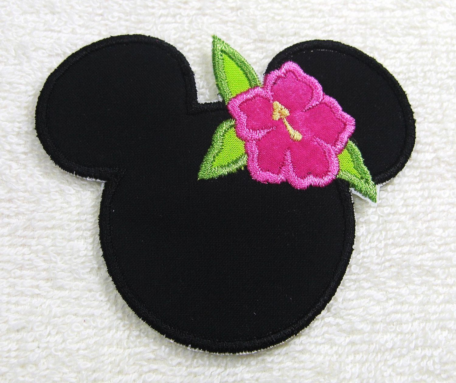 Hawaiian Minnie Mouse Silhouette Fabric Embroidered Iron