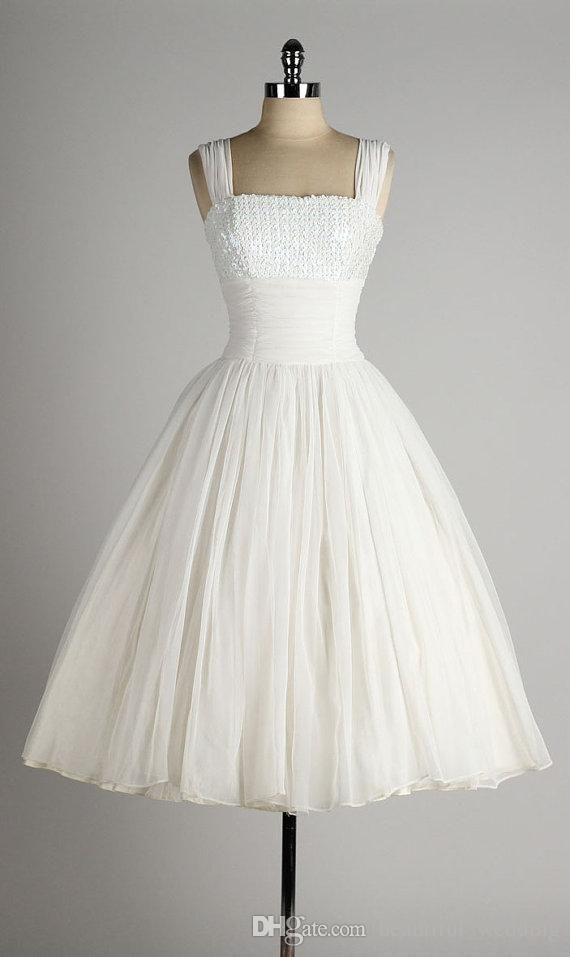 1950 Style Wedding Dresses A Line Square Neck Sleeveless Tea Lenght ...