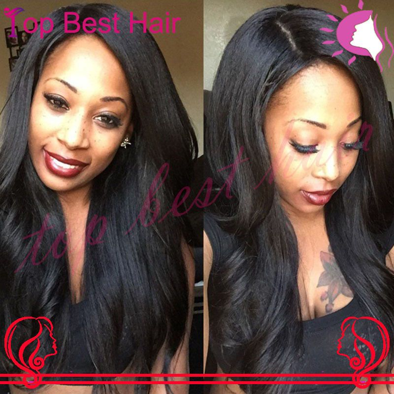 ... buy Hot Virgin Brazilian Yaki Straight Silk Top Wig Human Natural Hair  Glueless Light Yaki Lace Front Wigs For Black Women from mobile site ... 947ef96da0