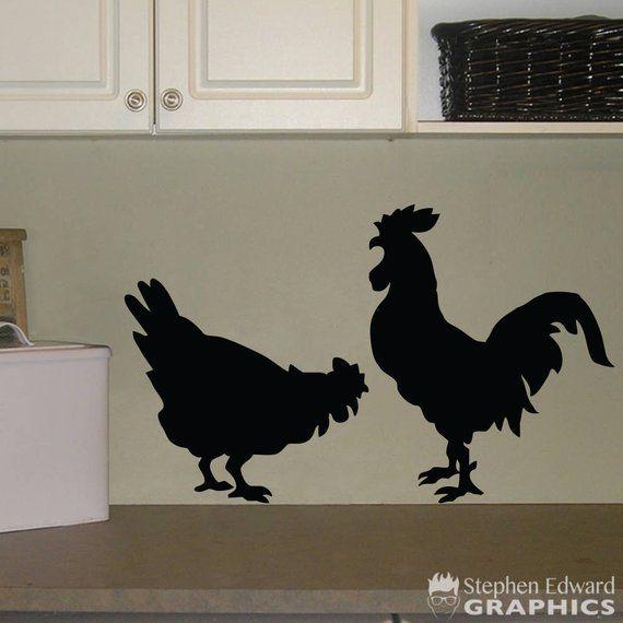 Chicken Wall Decal Kitchen Decal Rooster Chicken Wall Etsy Kitchen Wall Decals Kitchen Stickers Kitchen Decals