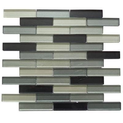 12 in. x 12 in. x 8 mm glass interlocking mosaic wall tile