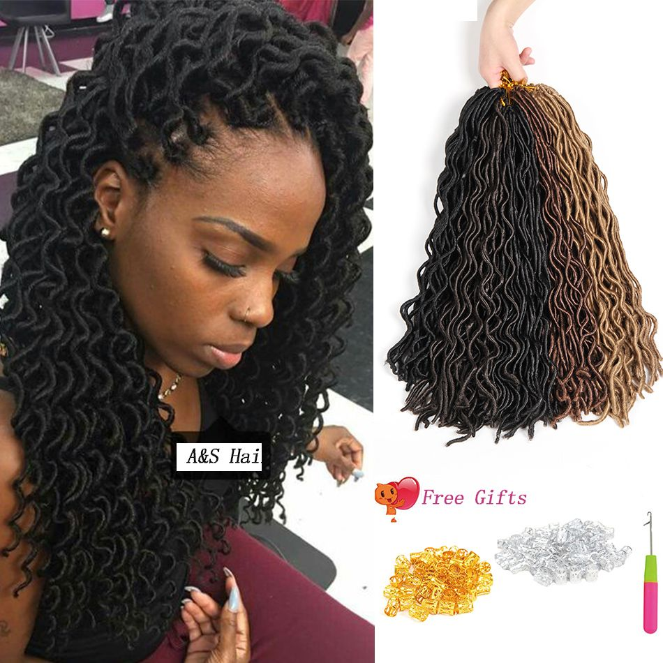 Top Beauty Crochet Braids Soft Curly Faux Locs Synthetic Braiding Hair 20