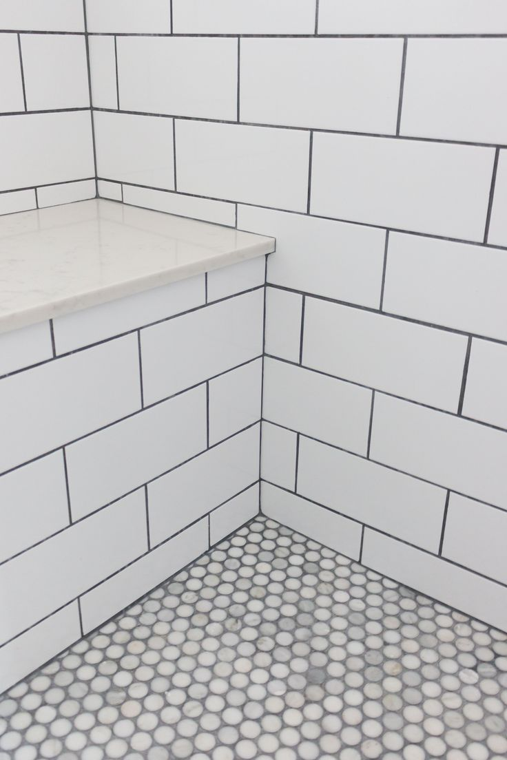 Master Bathroom Shower Subway Tile with Grey Grout...