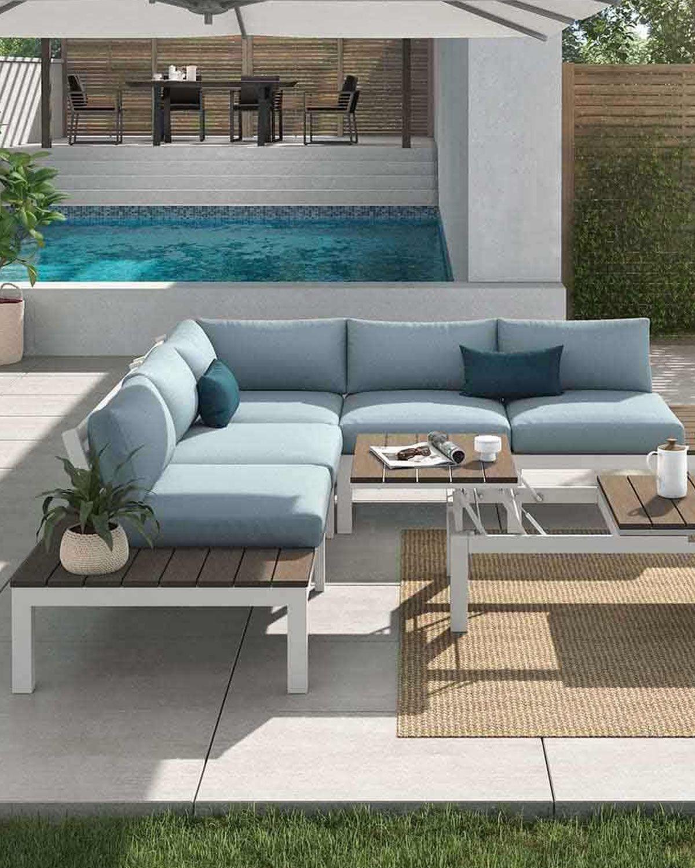 Outliv Hamilton Loungeecke 4 Teilig Alu Polywood Polster Weiss Blau Grau Lounge Aussenmobel Lounge Mobel