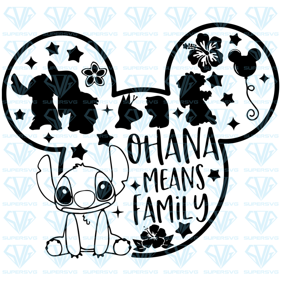 Ohana Means Family SVG Files For Silhouette, Files For