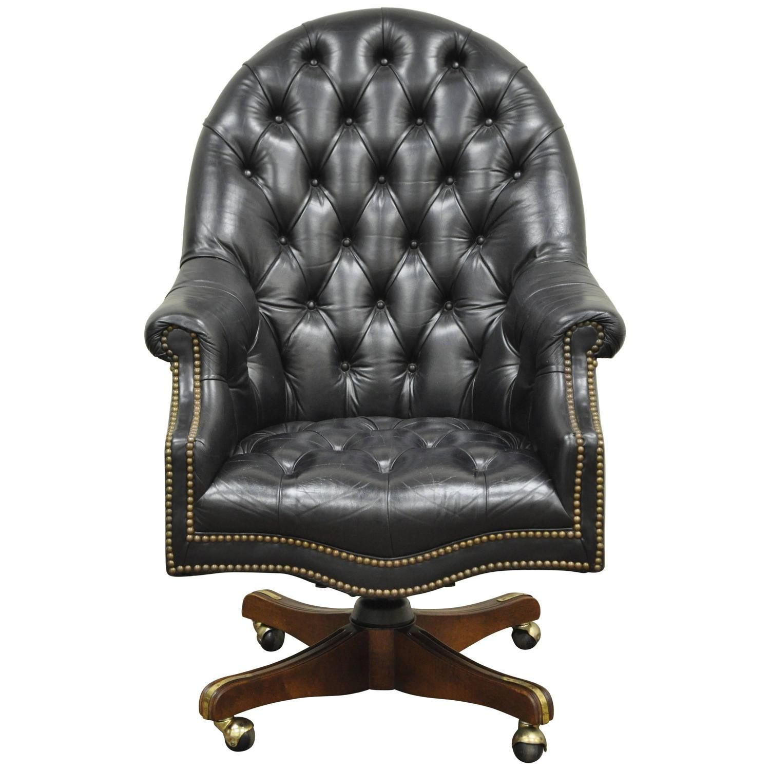 Deep Tufted Black Leather English Chesterfield Style Rolling Office Desk Chair Vintage Office Chair Black Office Chair Office Guest Chairs