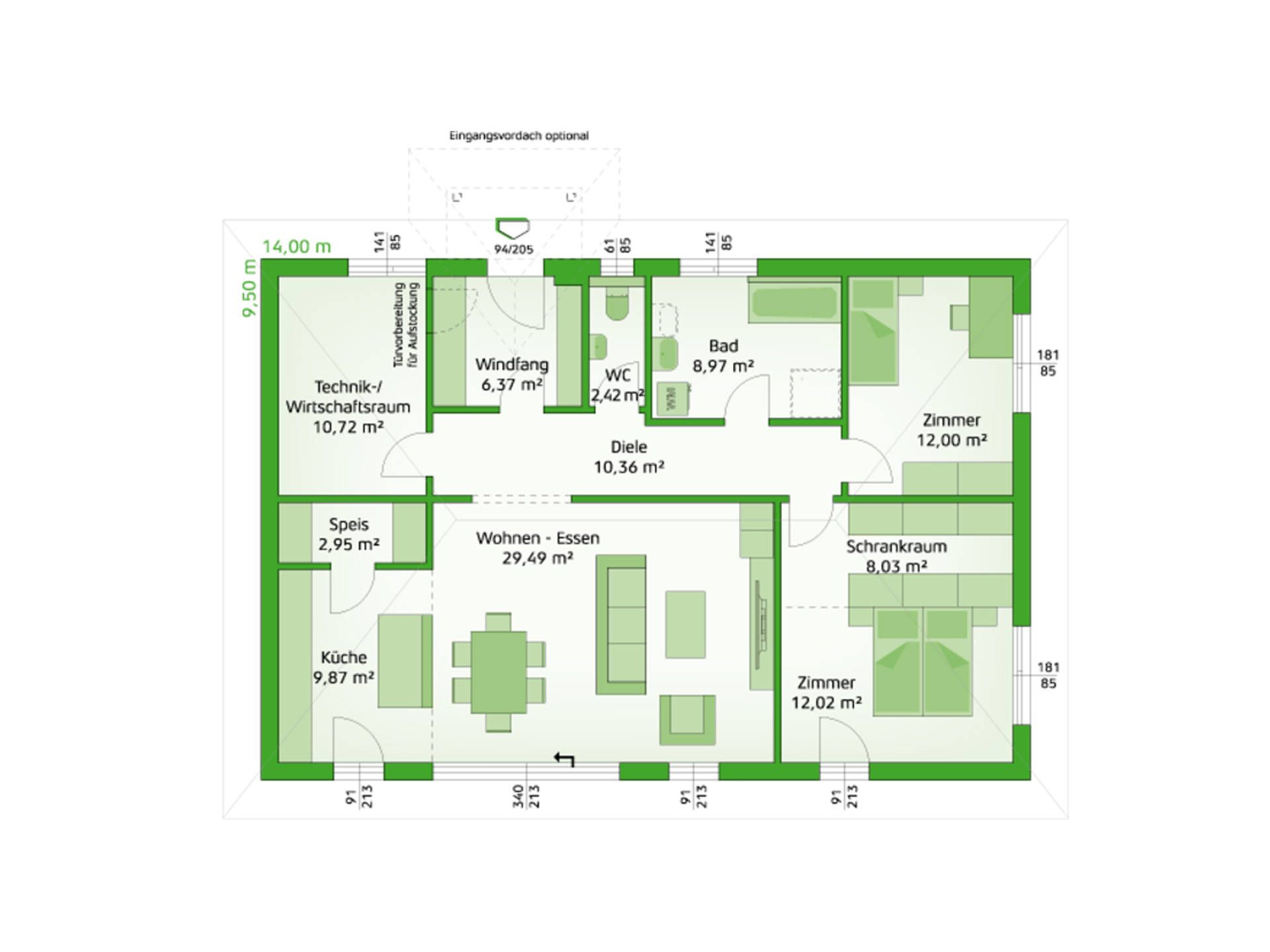Musterhaus grundriss bungalow  HARTL Haus Bungalow Comfort 113 W Grundriss EG | ⭐Bungalow ...