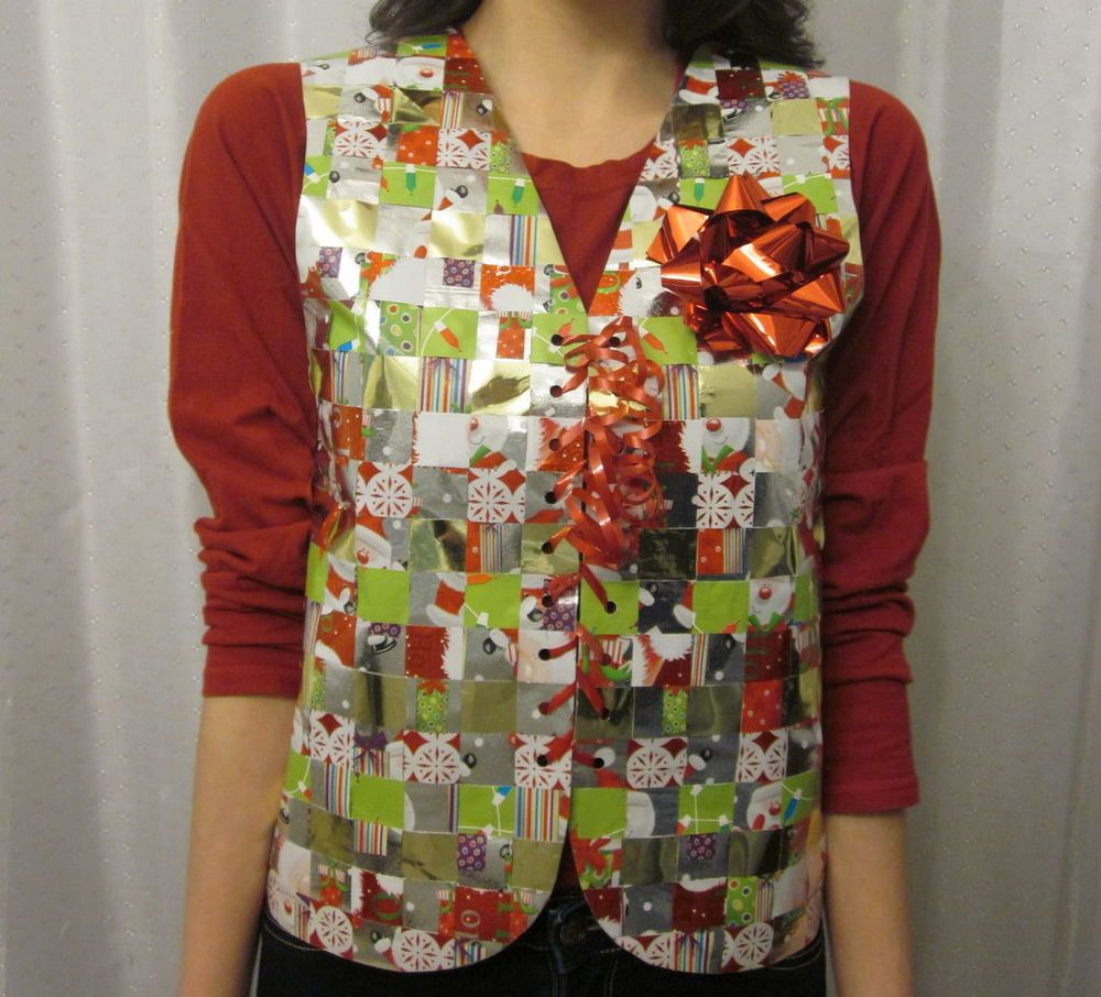 recycled wrapping paper ugly sweater vest | wraps, ugly xmas