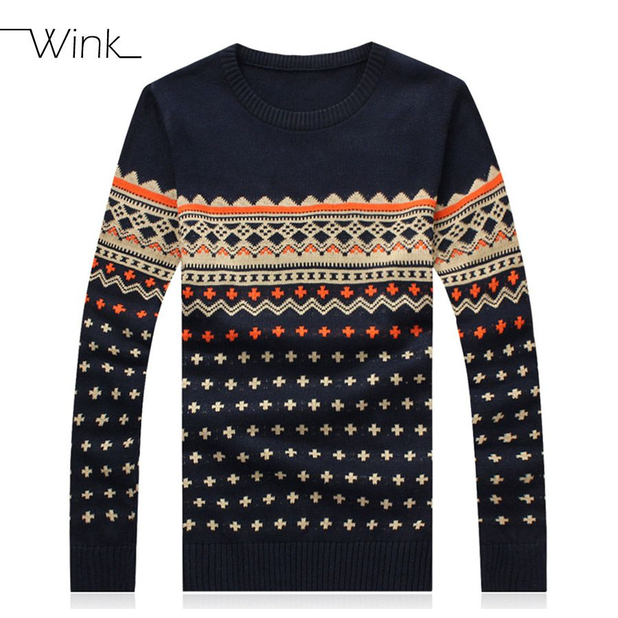 Pullover Sweater Men Cotton Argyle Casual England Style Mens ...