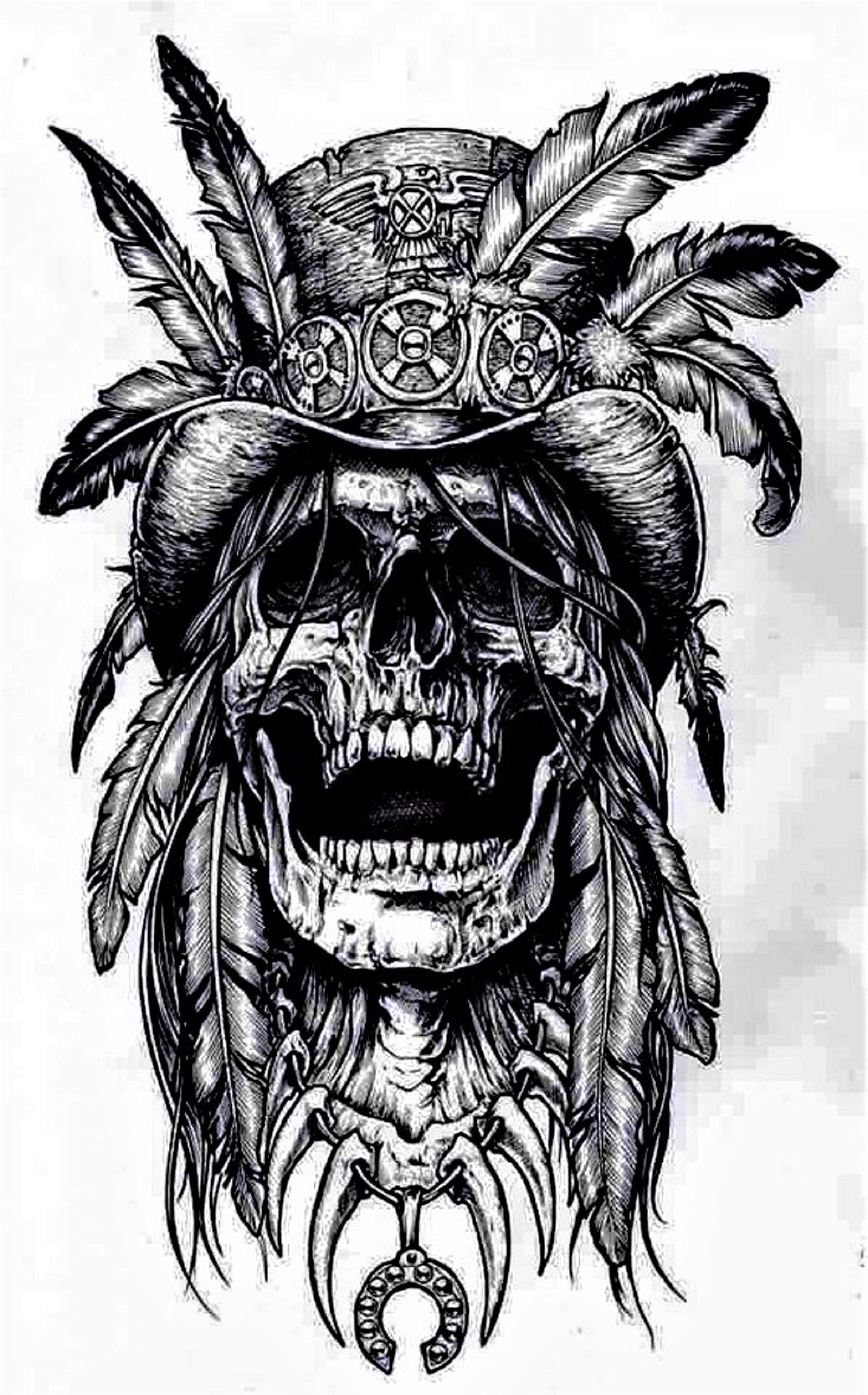 Skull With Head Dress Native American Tattoo Design Skull Symbol Of Death And Decay Skull Tattoo Design Abstract Tattoo Death Tattoo