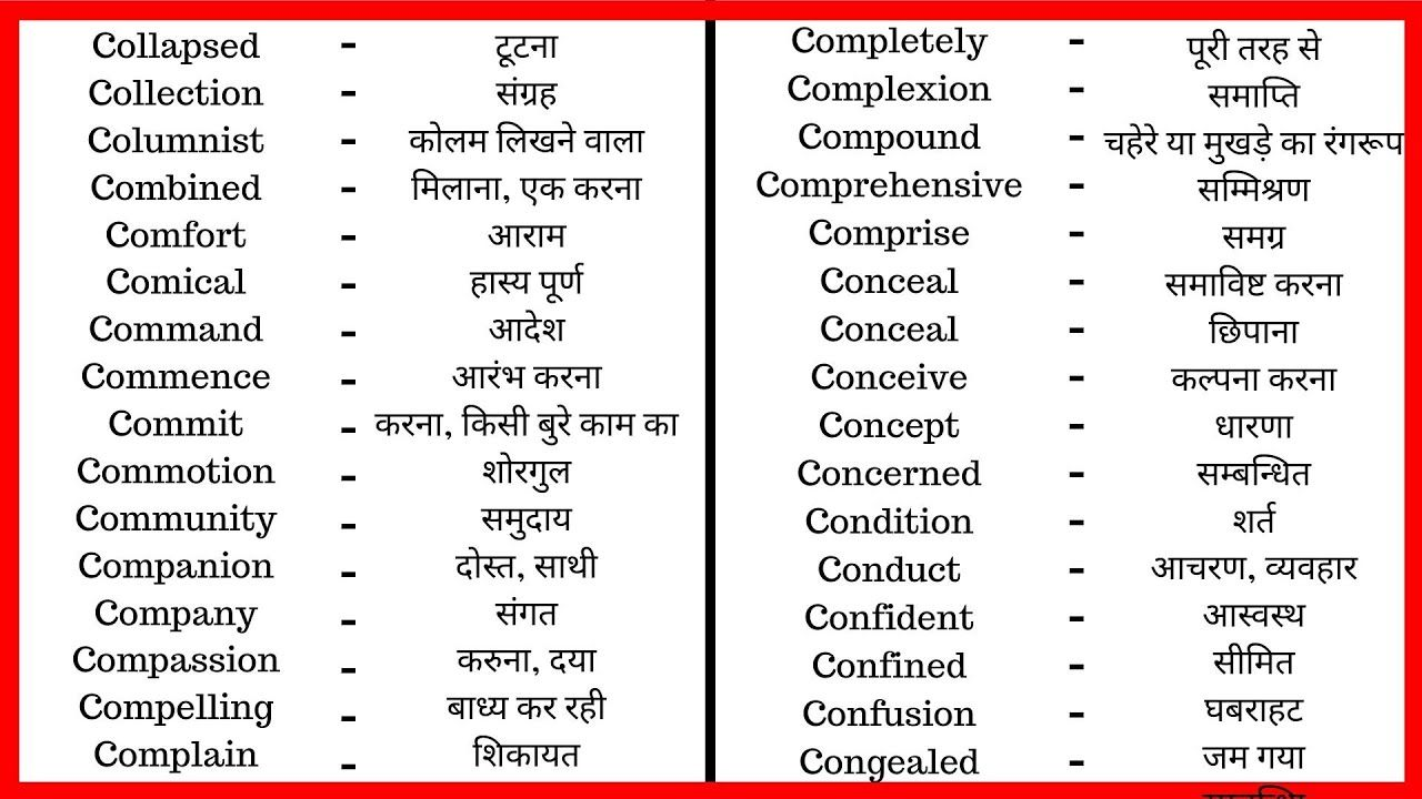 9 Common Vocabulary With Hindi Words Meaning Learn English Vocabulary Word Youtube Di Vocabulary Words English Vocabulary Words Learn English Vocabulary