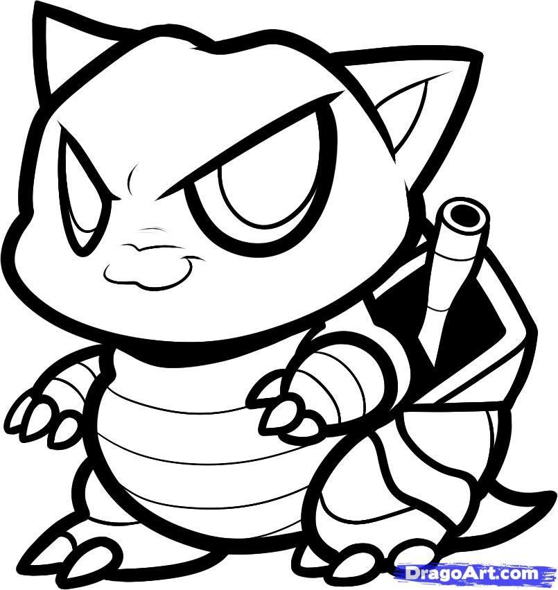 How To Draw A Chibi Blastoise Step By Sketch Coloring Page Pokemon Coloring Pokemon Coloring Pages Pokemon Sketch