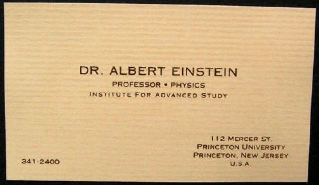 Namecards Of Famous Folks Interesting Einstein