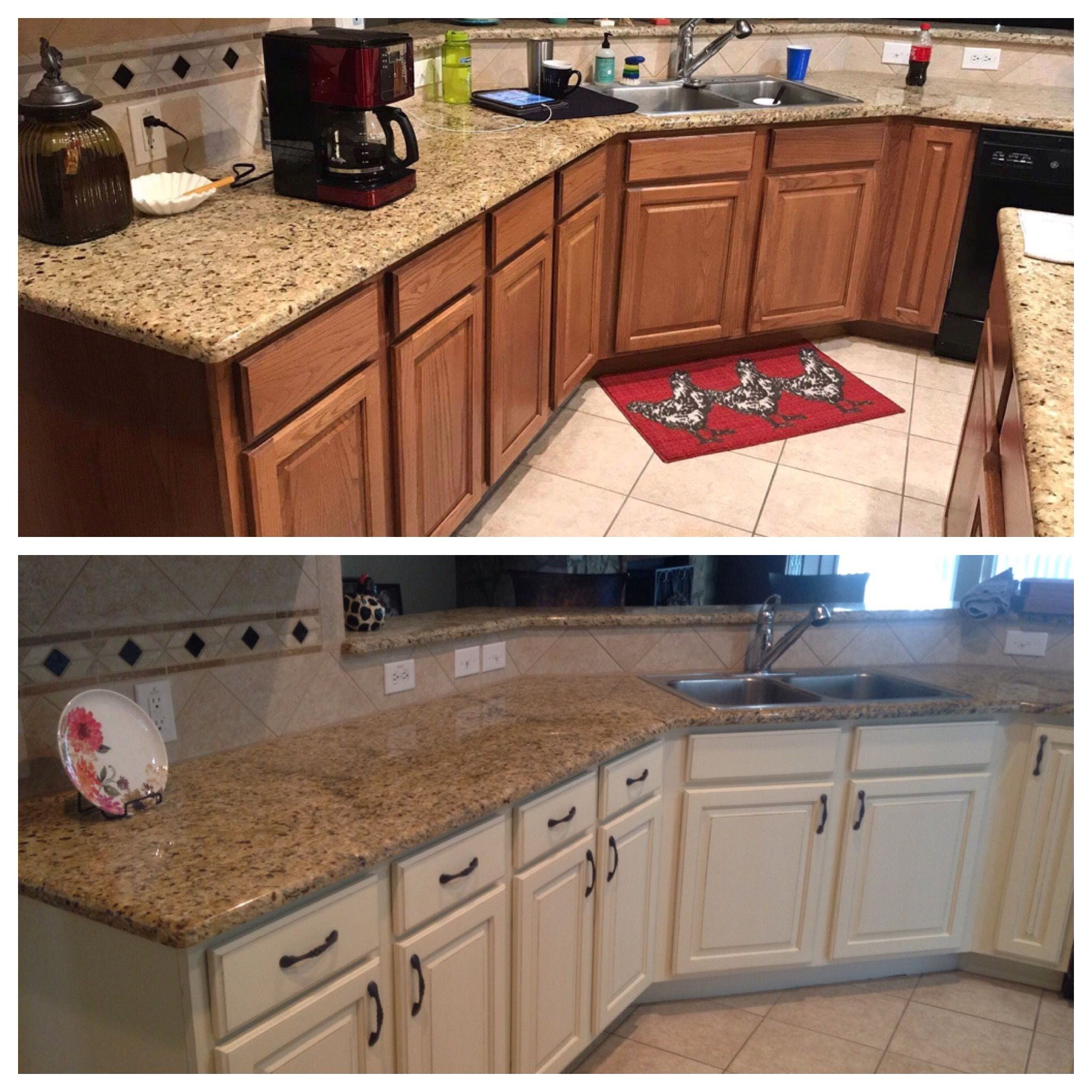 Kitchen Refresh Had The Cabinets Painted And Antiqued With Off White Chalk Paint Redo Kitchen Cabinets Oak Kitchen Cabinets Kitchen Cabinets