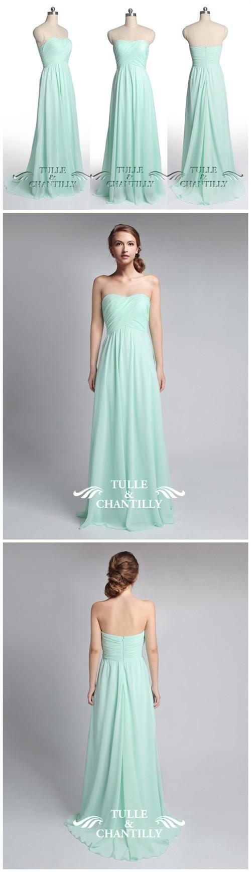 Chiffon Full Length Strapless Bridesmaid Dress TBQP284 | Mint green ...