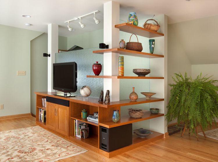 regale-ecke-herum-bauen-rotholz-wohnzimmer-glaswand Möbel Ideen - wohnzimmer mit glaswnde