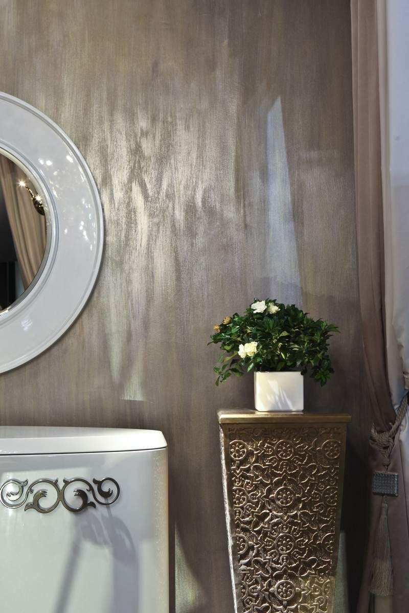 peinture effet bton mtal ou rouille en 21 ides originales miroir rondsalles de bains - Salle De Bain Metal