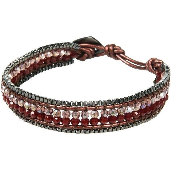 Nakamol Bracelet ($27) ❤ liked on Polyvore featuring jewelry, bracelets, deep purple, leather jewelry, adjustable bangle, nakamol, nakamol jewelry and leather bangle