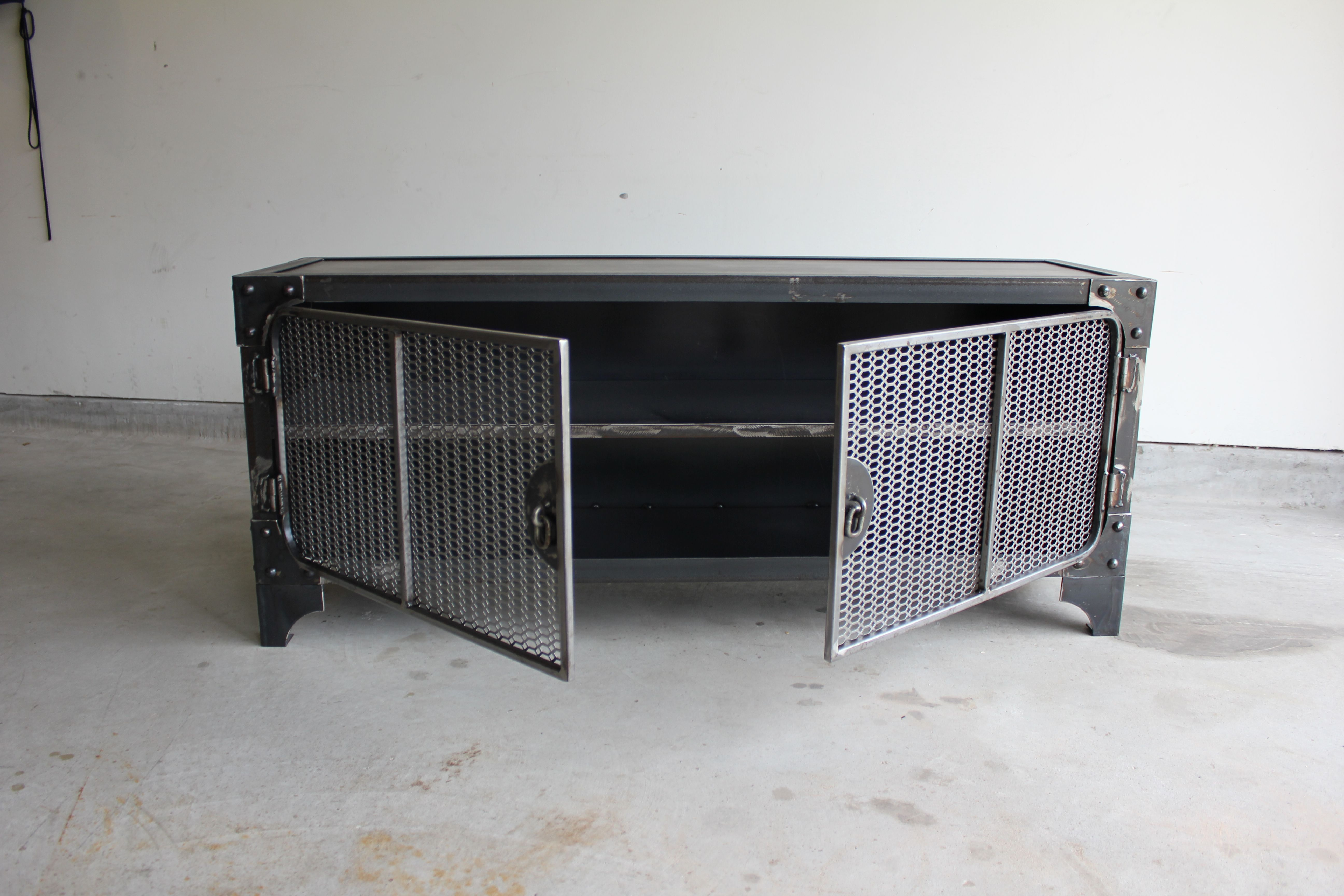 All Steel Industrial Style Media Console Tv Stand