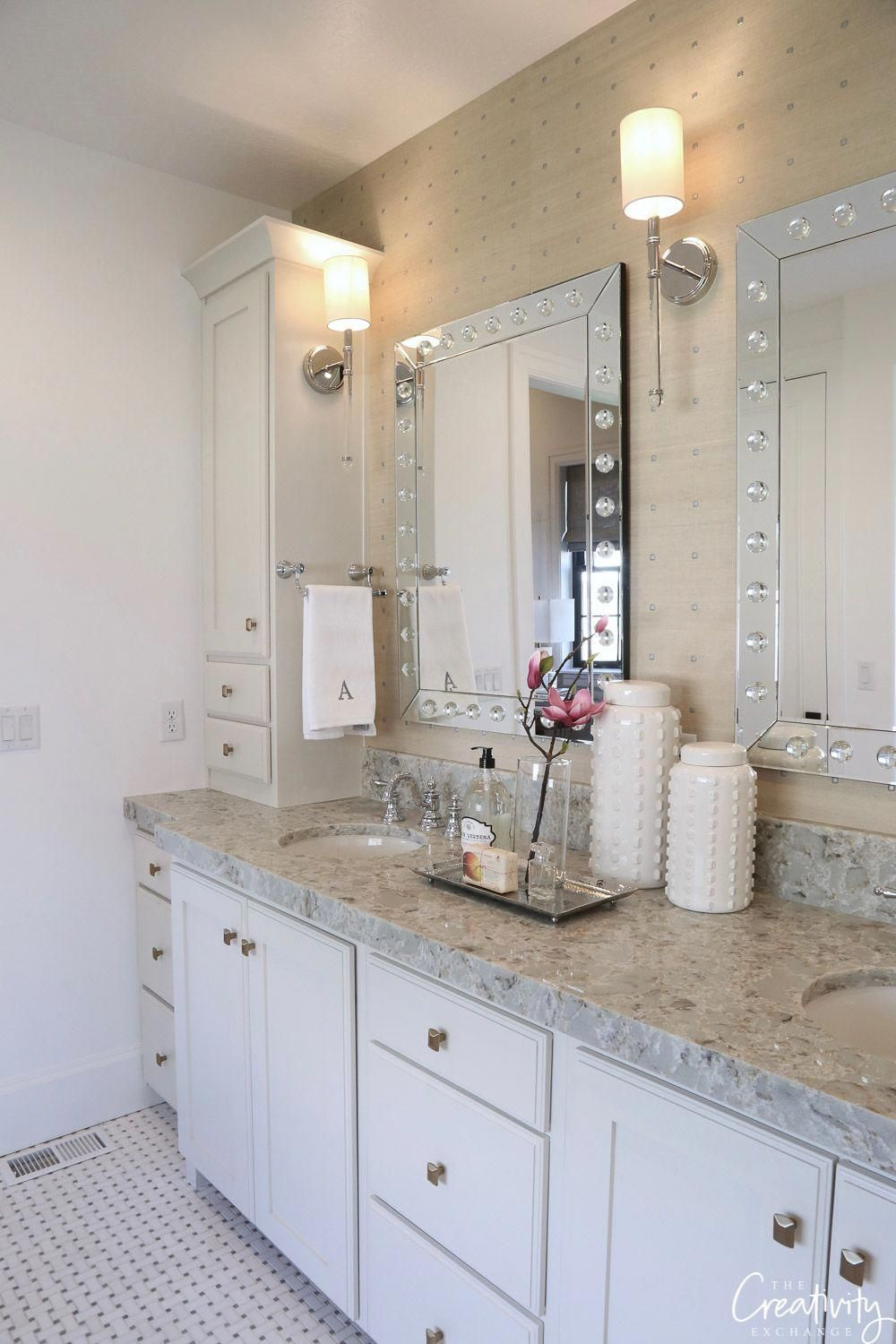 Side Countertop Cabinet With Hand Towel Holders For Master Bath