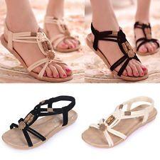 Nuevo Mujer Zapatos Sandalias Chanclas Planos Tiras Elástico