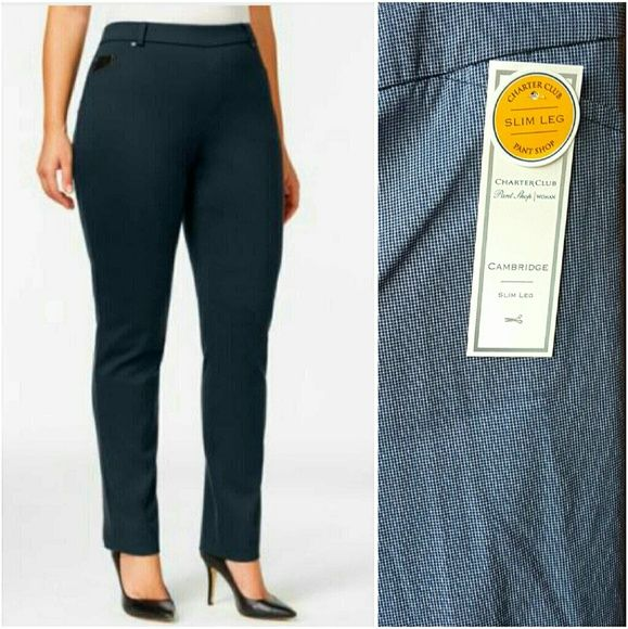 "CHARTER CLUB slim leg pant lovely charter club Cambridge slim leg pants in navy mini dot color print. Brand NWT and never worn. women's plus size 24. TTS. stretchy, soft, slacks. inseam is about 30.5"". pull on style. waist is about 22.5"" across when laying flat. no trades. Charter Club Pants Straight Leg"