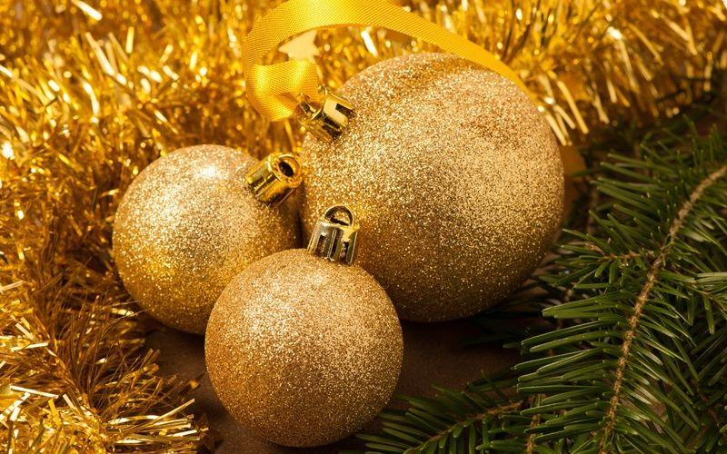 мишура, золотые, новый год, елка, Шары, дождик, ветка ...
