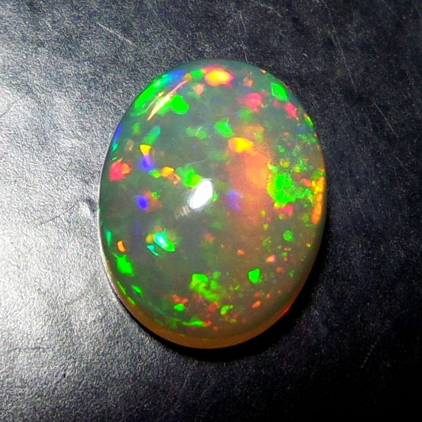 1.3 CTS TOP NATURAL ETHIOPIAN PIN FIRE FLASHY OPAL 9X7 MM CABOCHON LOOSE GEM A22 #Unitedgemstones