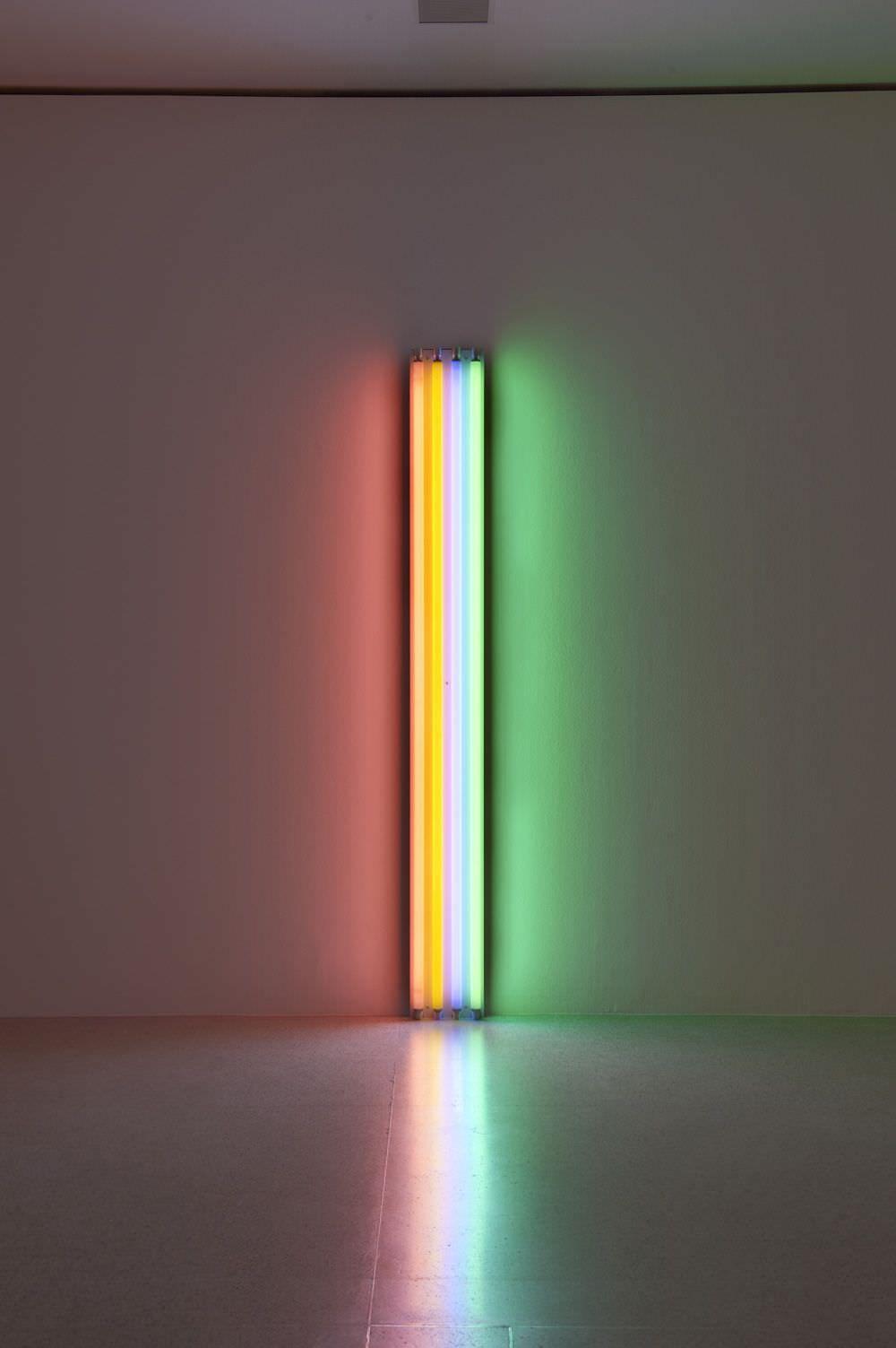 Dan Flavin Untitled To Henri Matisse 1964 Rosa Gelbe Blaue Und Grune Leuchtstoffrohre 244 Cm Hoch Photo Mumok Neonrohren Leuchtstoffrohre Lichtkunst