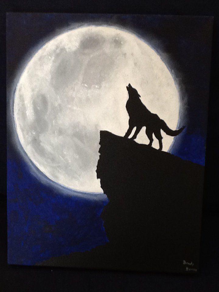 Детская картинка волк воет на луну