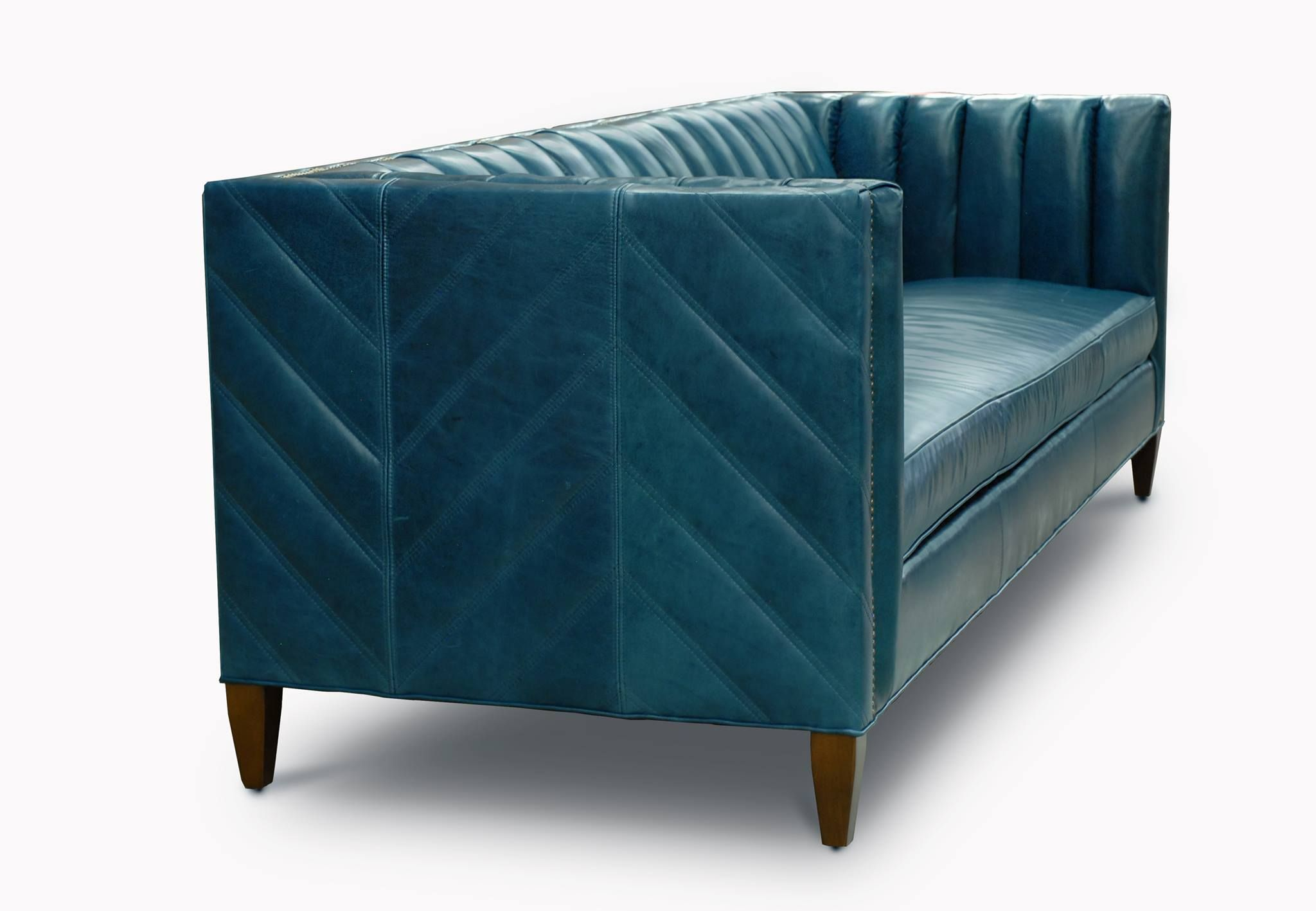 The Lambert Custom Channel Tufted Mcm Sofas More Of Iron Oak Blue Sofa Chair Upholstered Furniture Outdoor Dining Chair Cushions